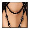 vintage necklace-black faceted glass detail 2